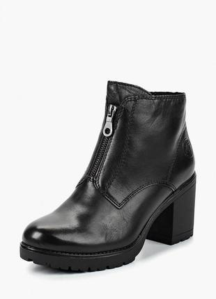 Натуральные  ботинки marco tozzi, германия. зимние  кожаные ботильоны, черные полусапоги