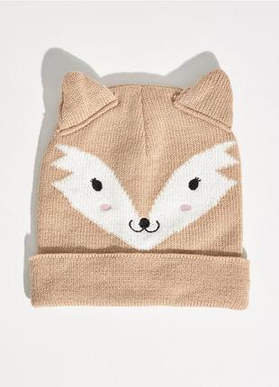 Новая шапка sinsay коричневая светло-коричневая бежевая синсей ушки лиса лис лисица принт
