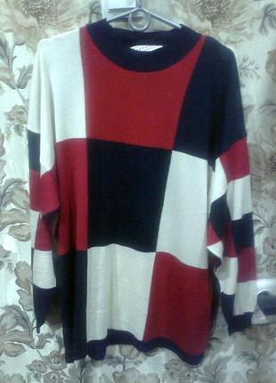 Свитер*пуловер*джемпер*в клетку большой размер от stefanel italy