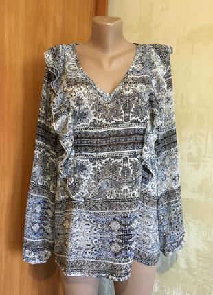 Шифоновая блуза с воланами в стиле бохо,принт!