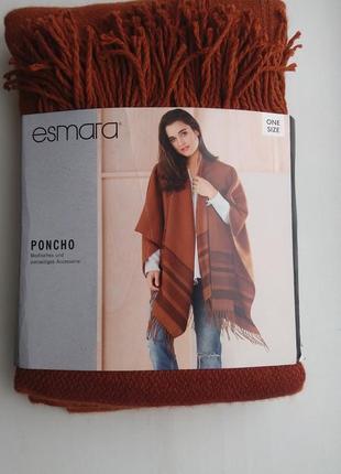 Шикарное яркое пончо накидка шарф esmara
