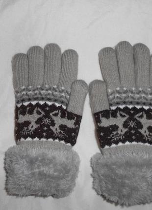 Теплые зимние меховые плюшевые перчатки, на 6-8 лет