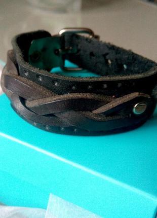 Черный кожаный браслет ручной работы мужской женский унисекс браслет