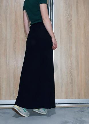 Шикарная юбка в пол ровного кроя на высокой посадке с разрезом италия2 фото