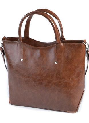 Коричневая деловая сумка с маленькими ручками и ремешком через плечо