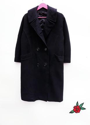 Черное демисезонное пальто красивое пальто букле