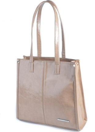 Кофейная деловая сумка квадратная с длинными ручками на плечо