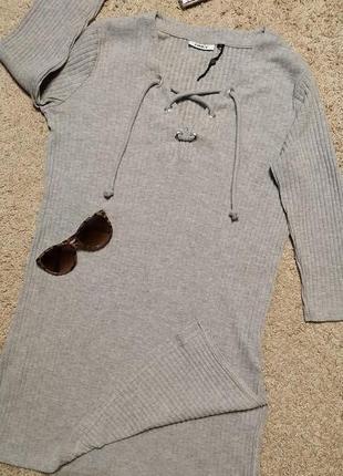 Onli стильная туника/платье в рубчик на шнуровке и с разрезами по бокам