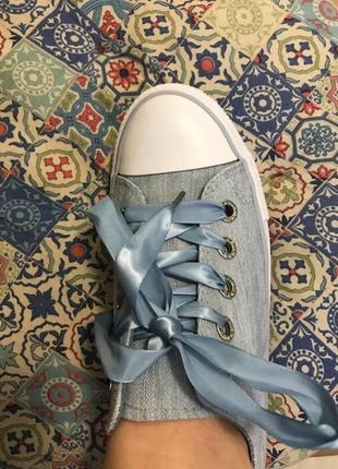 Джинсовые кеды, атласные шнурки, 24 см стелька.