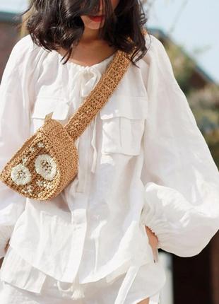 Брендовая соломенная поясная сумка