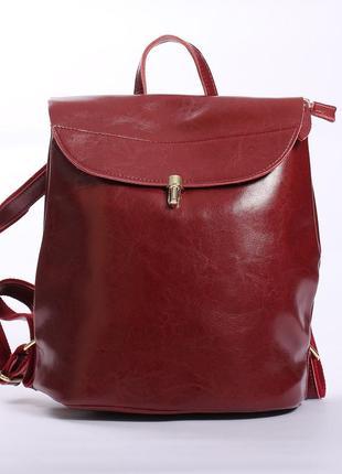 Бордовый рюкзак из натуральной кожи