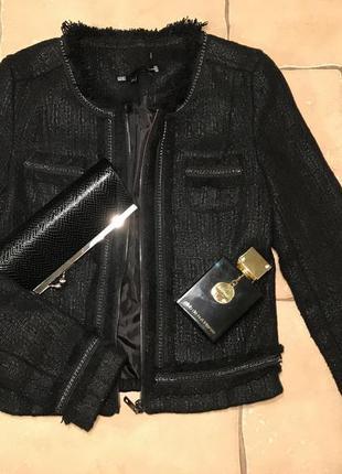 Снизила цену zara твидовый жакет удлиненный пиджак в стиле chanel ... e03e59c77fa