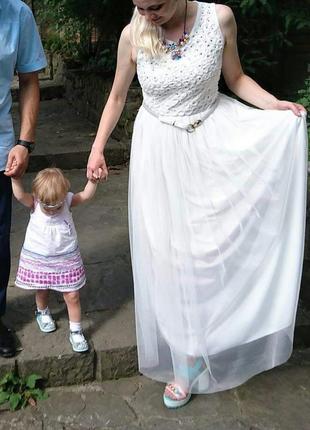Шикарное вечернее белое платье макси размер 42