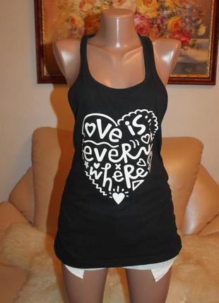 Love is everywhere классная черная майка с надписью xs s m в наличии