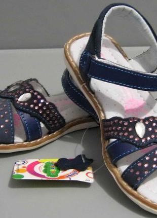 Кожаные босоножки для девочки (синие) 16-05-059