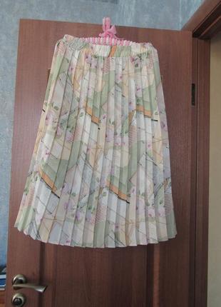 Плиссированная юбка миди плиссе бессмертная классика англия в чайные розы м