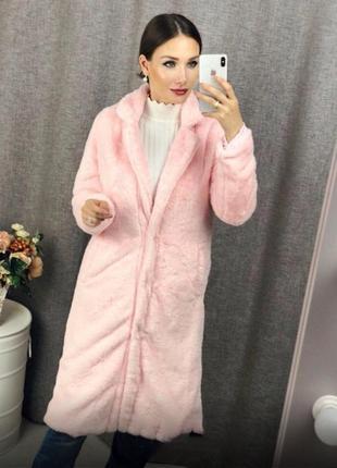 Нежно розовая шубка халат из эко меха нежная и пушистая мягенький плюш