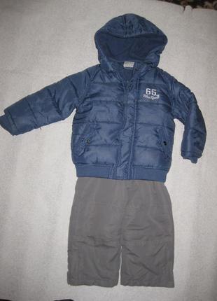 92 рост, зимний стильный костюм куртка и полукомбез от topolino