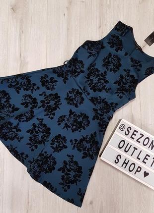 Очень красивое платье из неопрена,синее платье с бархатними цветами,неопреновое платье