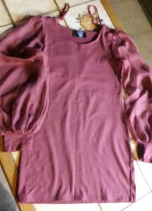 Блуза с прозрачными шелковыми рукавами. франция р.36
