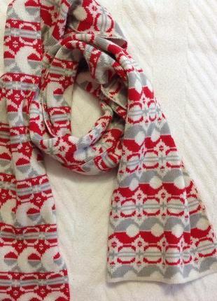 Фирменный тёплый шарф из шерсти мерино+baby alpaca