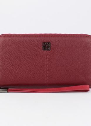 Кошелек женский кожаный на молнии 6288 темно-красный