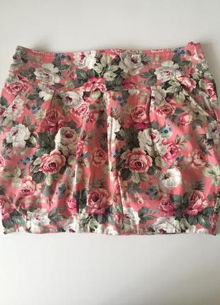 Мини юбка в цветочный принт