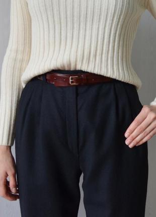 Винтажные шерстяные кашемировые черные брюки с высокой посадкой талией burberry