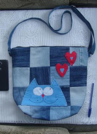 Джинсовая сумка через плечо с котиком