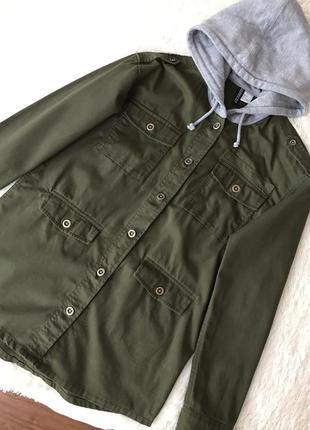 Стильная куртка ветровка пиджак цвета хаки от h &m размер xs s m