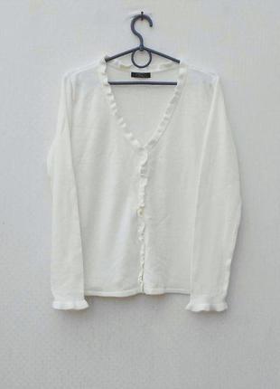 Белый осенний зимний свитер кардиган с длинным рукавом на пуговицах