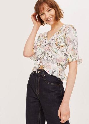 Блуза с цветочным принтом topshop