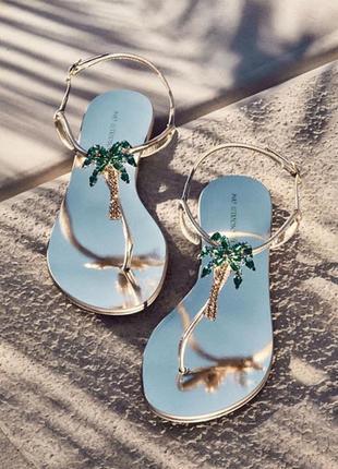 Золотые сандалии, серебрянные, с пальмой, со стразами, с камнями! 34-39 размеры!