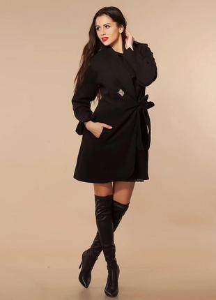 Шикарное черное пальто. бренд karmen страна украина состав кашемир 100%