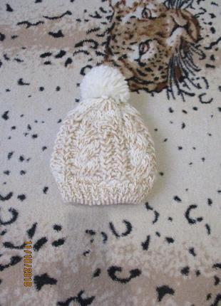 Теплая красивая шапочка с бубончиком/шапка с блестинками 0-6 мес зима-весна