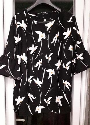 The collection debenhams черная нарядная блузка в цветочный принт рукав волан рюши 14 12