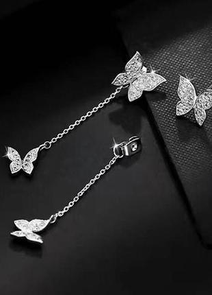 Невероятные серьги бабочки покрытие серебро 925 пробы, циркон 2 способа ношения