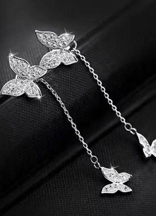 Невероятные серьги бабочки покрытие серебро 925 пробы, циркон 2 способа ношения3