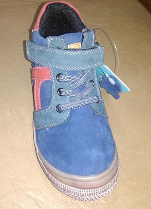 Кожаные утепленные ботинки 26-31 р. bi&ki на мальчика, би-ки, бики, осень, весна, флисе