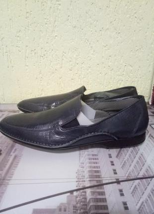 Итальянские темно-синие мокасины#новые кожаные туфли