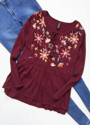 Бордовая блузка вышиванка
