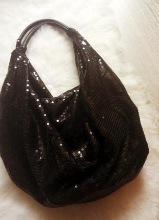 Новая средняя вместительная черная сумка в пайетках шоппер блестки короткие ручки