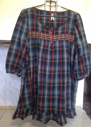 Фирменая блуза  шотландка, хлопок, на наш 56-58 разм, поб 72, дл 80см