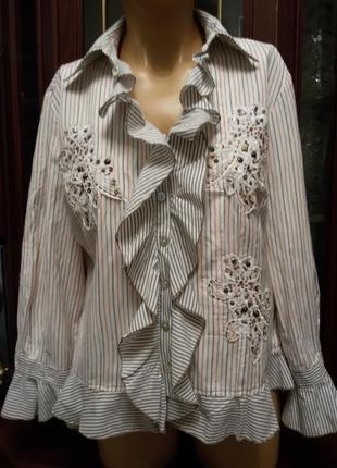 Блузка рубашечка + вышивка бисером бренд biba 48-50наш