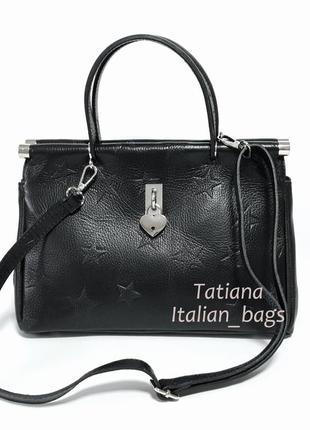 Стильная кожаная сумка саквояж со звездами. италия новинка2