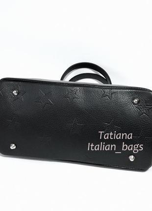Стильная кожаная сумка саквояж со звездами. италия новинка5
