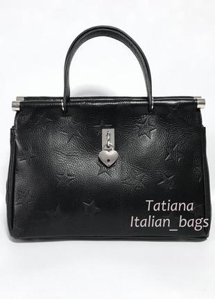 Стильная кожаная сумка саквояж со звездами. италия новинка1
