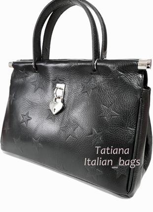 Стильная кожаная сумка саквояж со звездами. италия новинка3
