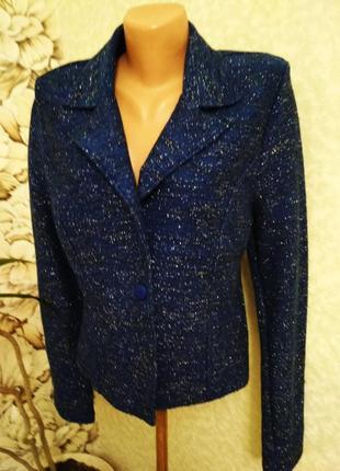 Пиджак, жакет, блейзер с люрексом, трикотаж, хлопок.  1+1= 50% скидки на 3ю вещь.