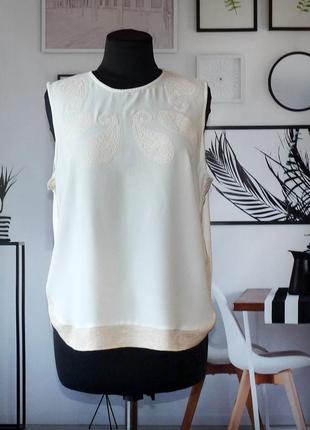 Блуза с трикотажной отделкой zara